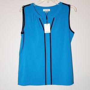 NWT Calvin Klein  Sleeveless Blue Blouse Size M